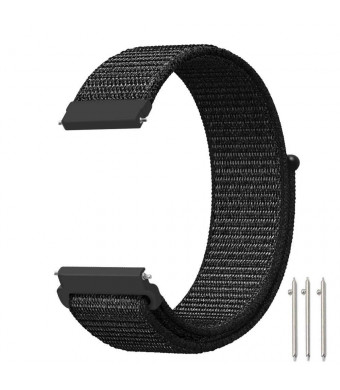 Baoking 20mm Quick Release Nylon Sport Loop Smartwatch Replacement Strap Bands with Adjustable Closure for Samsung Galaxy Watch 42mm and Gear Sport and Gear S2 Classic for Women and Men(Black)