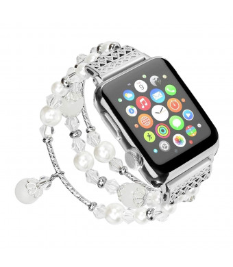 Compatible for Apple Watch Band 38mm 40mm,Multaich Fashion Handmade Atificial Elastic Faux Agate Beads Bracelet Replacement Women Girls iWatch Series 4/3/2/1-White