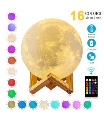 Moon Lamp 3D Printing 16 Colors Moon Light with Stand and Remote andTouch Control and USB Rechargeable (Diameter 4.72 inch), Best Gifts for Baby Kids Lover Birthday