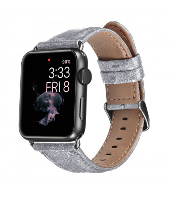 Surace Compatible for Apple Watch Band 42mm, 3D Glitter Soft PU Strap Waterproof Replacement for Apple Watch Series 1, Series 2, Series 3 and Series 4 44mm Women(Silver, 42mm)
