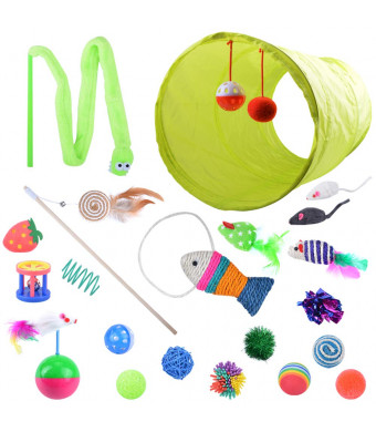 Oziral 21 Pcs Cat Toys with 1 Way Tunnel Ball Mice Fish Snake Interactive Feather Teaser Cat Interactive Toys Set for Catnip Refill Cat Puppy Kitty Kitten Ferret Rabbit