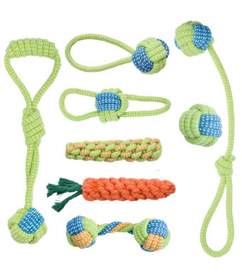 Oziral Dog Rope Toys [8 Pack] Puppy Braided Rope Toys Set Pet Dog Teeth Cleaning Gift Chew Durable Interactive Cotton Toys Dental Health for Small/Medium/Large Dog Playing