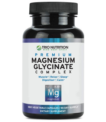 Magnesium Glycinate Complex - Powerfully Chelated with Added Vitamin B6 for Rapid Absorption - for Calm, Sleep, Muscle, Bone Relaxation Revitalization and Recovery  Vegetarian Capsule, 100% Daily Value