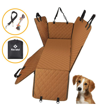 Knodel Dog Seat Cover, 100% Waterproof Car Seat Cover for Pets, Pet Seat Cover Dog Hammock, 600D Heavy Duty Scratch Proof Pet Back Seat Covers, Zippered Side Flaps for Cars, Trucks and SUVs
