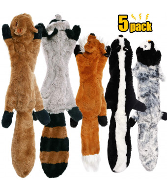 CNMGBB No Stuffing Dog Toys with Squeakers, Durable Stuffingless Plush Squeaky Dog Chew Toy Set,Crinkle Dog Toy for Medium and Large Dogs, 5 PackSquirrel Raccoon Fox Skunk and Penguin, 24Inch