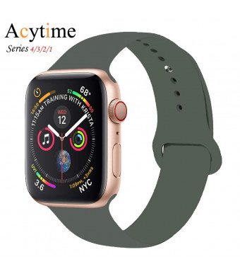 ACYTIME Sport Band for Apple Watch 38mm 40mm 42mm 44mm, Soft Silicone Sport Strap Replacement Bands for iWatch Apple Watch Band Series 4, Series 3, Series 2/1 Sport and Edition (Olive green, 38/40mm-SM)