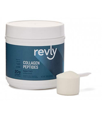 Amazon Brand - Revly Collagen Peptides Powder, Unflavored, 1 Pound (23 Servings), No added rBGH/rBST, No artificial colors, sweeteners or chemical preservatives added, Gluten and Dairy free