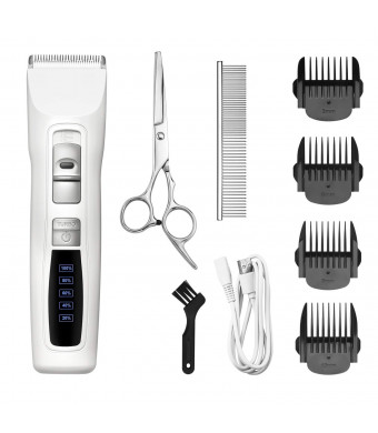 Bousnic Dog Clippers Professional 2-Speed Cordless Rechargeable Pet Grooming Hair Clippers Kit for Small Large Dogs Cats and Other Fur Pets