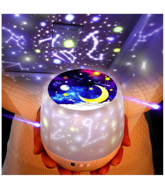 KISTRA Dinosaur Star Night Lights for Kids with LED Timer, 360Rotating Projector Night Lighting Lamps with Starry Moon Sky for Indoor Bedrooms, Best Gift for Baby
