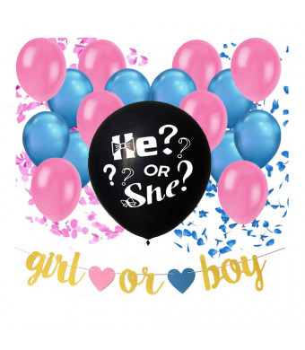 36 Inches Gender Reveal Balloon With Confetti 2 Pack| Party Supplies and Decorations Include 8 Pink and 8 Blue Balloons, Pink and Blue Confetti, And Baby Shower Banner | By Revealloon