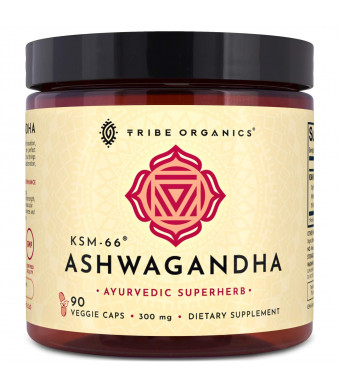 KSM-66 Ashwagandha Organic 100% Pure Root Extract | 90 Vegetarian Capsules | Highest Efficacy 5% Withanolides | Stress and Anxiety Relief, Cortisol Manager, Adrenal and Thyroid Support, Sexual Health.