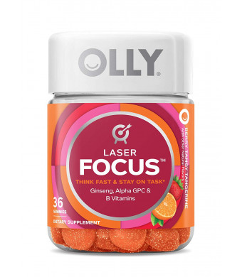 Olly Laser Focus Energy Boost Gummy Supplement, Berry Tangy Tangerine, 36 Count