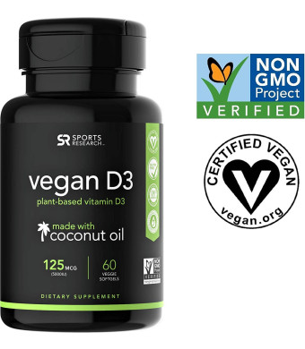 Vegan Vitamin D3 Enhanced with Coconut Oil for Better Absorption - 60 Veggie Softgels (125mcg/5000iu)