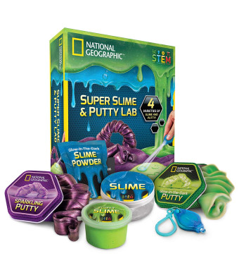 National Geographic Super Slime and Putty Lab - 2 Types of Amazing Slime + 2 Types of Putty Including Sparkling Putty, Fluffy Slime and Glow-in-The-Dark Putty