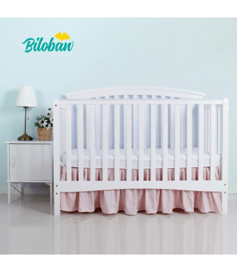 """Pink Crib Skirt Pleated with white lovely pompoms, Bedding Dust Ruffle for Baby Girls, 14"""" Drop, Fit All Standard Crib Bed, Fade Resistant, Microfiber"""