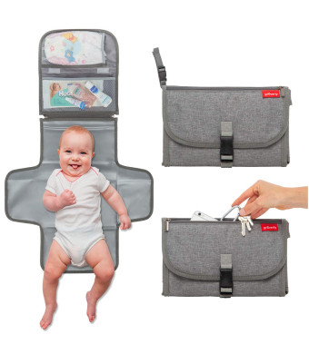 Portable Diaper Changing Pad Station - Baby Travel Changing Mat | Hygienic Durable | Memory Foam Comfort Pillow | Diaper Bag Accessory | Baby Shower by Groverly