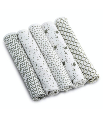 """Enovoe Baby Burp Cloth for Boys and Girls (5 Pack) - 21"""" x 10"""" - 100% GOTS Certified Organic Cotton, Extremely Absorbent, Soft and Durable Burping Cloths Rags, Perfect for Babies Drool and Spit Ups"""