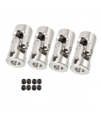 Sydien 4mm to 5mm Bore Motor Shaft Coupling Universal Joint Connector with Set Screws for RC Boat Car (4 Pack)