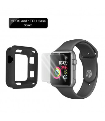 SZFY-TAIOW for Apple Watch Screen Protector Suit (Apple Watch Tempered Glass Screen Protector 2PCS and 1TPU Case) for 38mm Apple Watch Series3/2/1 Half Coverage Bubble-Free/HD Clear Anti-Fingerprint