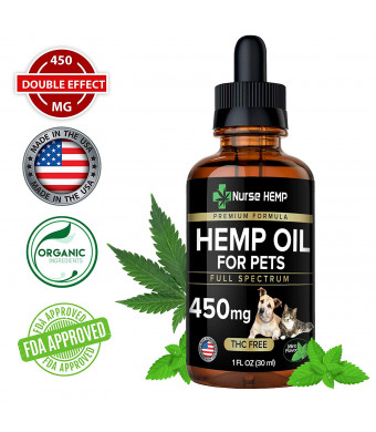 Hemp Oil Dogs Cats (450mg) - Natural Relief Pain, Separation Anxiety - Support Hips and Joint Health - Ultra Calming Organic Pet Supplement Full Spectrum Extract, Omega 3,6 - Made in USA