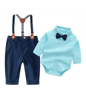 Baby Boys Long Sleeve Shirt+Denim Overalls Outfit Suits with Bowtie, Infant Gentleman Pants Set