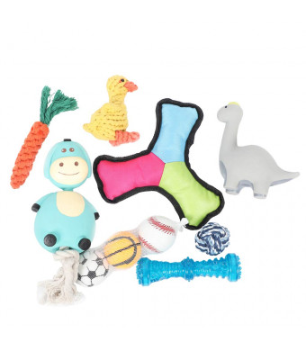 PetLogic Dog Toy Set: 10 Pack Interactive Chew Fetch Tug Squeaky Toys, Plush Toys, Natural Rubber Latex Toys, Cotton Ropes, Bouncing Balls, Popular Gift Box for Puppy Small Medium Large Dogs