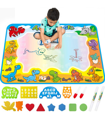 Large AquaDoodle Drawing Mat for Kids - Free to Fly Painting Writing Doodle Board Toy Color Aqua Magic Mat Bring Magic Pens Educational Travel Toys Gift for Boys Girls Toddlers Age 2 3 4 5 6