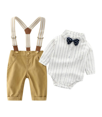 Baby Boys Gentleman Bowtie Red Plaid Shirt and Blue Pants Outfits Suits, Infant Suspender Overalls Clothes Sets