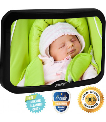 Baby Mirror for Car  Largest Backseat Mirror for Rear Facing Infant - Most Stable Shatterproof Newborn Accessories for Back Seat - Wide Crystal Clear View - Premium Quality - Safe Secure Crash Tested