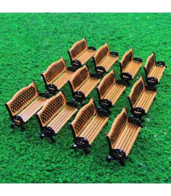 Evemodel ZY35087OB 12pcs Model Train Platform Park Street Seat Bench Chairs Settee 1:87 HO Scale