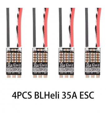 4pcs Crazepony Blheli_32 35A ESC, 35A Blheli 32 2-4S Lipo Support Dshot 1200 Electronic Speed Controller Current Limit and Auto Timing for FPV Racing Drone (Blheli_32 35A)