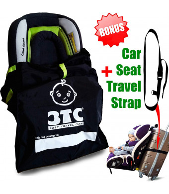 Car Seat Travel Bag + Car Seat Travel Strap  Gate Check Bag for Car Seats