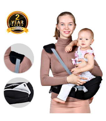 Baby Hip Seat Carrier Waist Stool  Safety Certified Back Pain Relief Soft Carrier (Ergonomic M Position), 100% Cotton for All Seasons, Child Infant Toddler, Perfect Baby Shower Gift