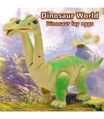 Electronic dinosaur toys,Walking Brachiosaurus dinosaur toy lay eggs while walking Figure with Swinging Tail Action, Roaring Sounds and LED Lights | Battery Operated Dinosaurs Gift for Kids Boys Girls