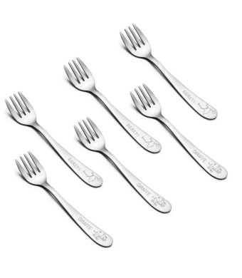 Kids Forks, E-far Stainless Steel Toddler Baby Fork Set, BPA Free and Cute Animals Pattern, Matte Polished and Dishwasher Safe - 6 Pack