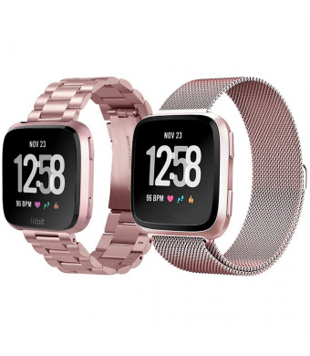 CAGOS Compatible Fitbit Versa Bands Sets Women, 2 Pack Metal Stainless Steel Versa Band + Milanese Loop Mesh Accessories Replacement Bracelet Strap for Fitbit Versa Smartwatch(Metal+Mesh Rose Gold)