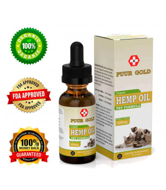 Hemp Oil for Dogs and Cats - 500MG - Anxiety Relief for Dogs and Cats - 100% Organic Pet Hemp Oil - Supports Hip and Joint Health - Natural Relief for Pain. LAB Tested NON-GMO Full Spectrum Hemp Oil