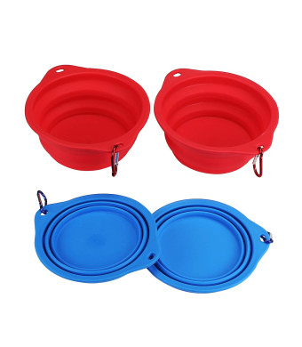 "Qiuki XL Collapsible Dog Bowls - Extra Large 30oz, 7.6"" Diameter for Large Dogs - Safe Food Grade  Silicone - Portable Foldable Travel Pet Bowls for Journeys (with Carabiner Clips)"