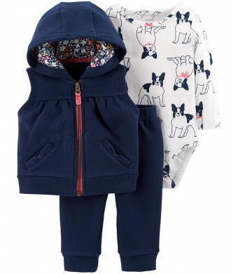 Carter's Baby Girls 3 Piece Vest Set, French Bulldog, 18 Months