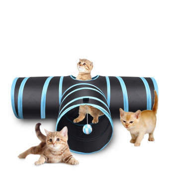 Cat Tunnel Collapsible Pet Play Tunnel Tube Toy with a Bell Toy and a Soft Ball Toy for Cat, Puppy, Kitty, Kitten, Rabbit