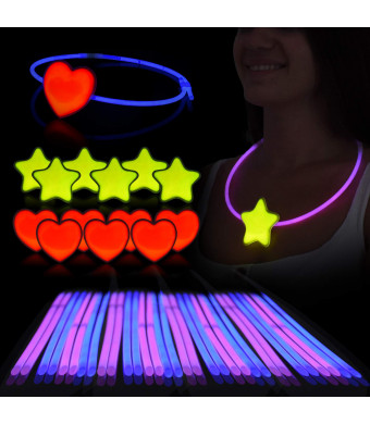 Glow Sticks Necklace and Headring Set  Pack of 36 Sticks (18 Blue/18Pink), 6 Hearts and 6 Stars W/Connectors - Glow in the Dark Party Favors for Kids/Adults - Ideal for Halloween, Bday, Festivals and More