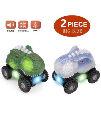 Plus Size Dinosaur Vehicles,Battery Powered Dinosaur Vehicles Toys with Big Tire Wheel for 3-14 Year Old,LED Dinosaur Car with Sound,2-Pack