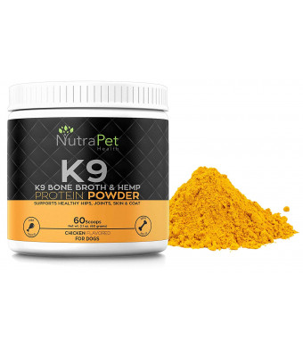 K9 Bone Broth Powder Concentrate Organic Turmeric Hemp Protein  Improves Gut Health, Allergies, Food Sensitivity and Inflammation Hip and Joint Arthritis Pain Relief  Digestive and Mobility