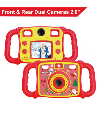 (Christmas Edtion)Prograce Kids Camera Dual Camera Selfie Digital Video Camera Camcorder for Boys Girls Christmas Gifts with 4X Digital Zoom, Flash Light and Funny Game