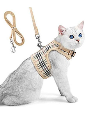 Unihubys Cat Harness with Leash Set- Adjustable Soft Mesh Material with Strong D-Ring for Peace of Mind, Great for Walking
