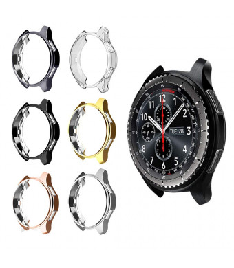 for Gear S3 Frontier SM-R760 Case,Soft TPU Fashion Metal Color Frame Shock Resistant Proof Cover Protector Shell for Samsung Gear S3 Frontier SM-R760, Galaxy Watch 46mm SM-R800 Smartwatch (6PCS)