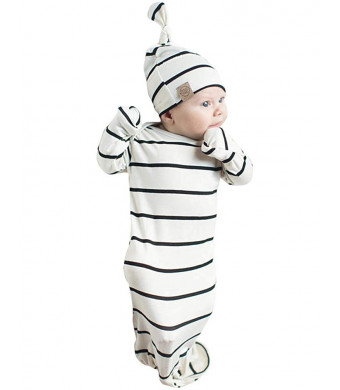 COLOOM Infant Baby Gown Newborn Knotted Sleeper Striped Sleep Sacks Gowns Swaddle and Cap
