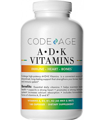 Vitamin ADK - 180 Count - High Potency Vitamin A 5000 IU D3 5000 IU K1 K2 (MK4 1500mcg and MK7 300mcg) Heart Bone and Immune No Soy Non-GMO