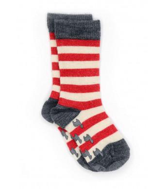 Warrior Alpaca Socks - Children's Baby Alpaca Wool Toddler Socks, Fun Stripes with Non-Skid Alpaca Appliqus