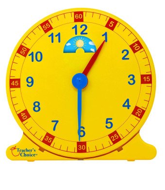 "Learn How to Tell Time Teaching Clock  Large 12"" Classroom Demonstration Night and Day Learning Clock"